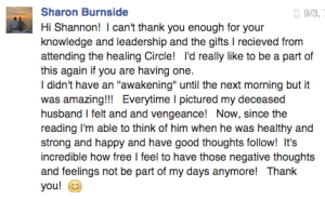 Sharon Burnside AR Healing Circle testimonial FB